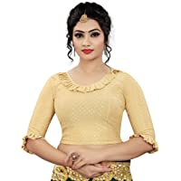 HIMALAY Fashion Women's Cotton Lycra Stretchable Readymade Designer Fashion Neck Blouse for Women