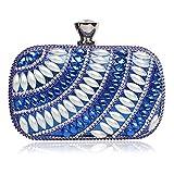 Eastever Damen Perlen Perlen Diamanten Abend Handtaschen Bankette Hochzeit Partytasche Crossbody Schulter Handtaschen - Blau