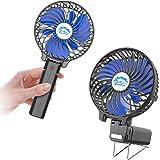 HandFan Ventilateur à Main,3 Vitesses Ventilateur Portable Rechargeable électrique 2 en 1 Mini Ventilateur Bureau 2000mAh ave