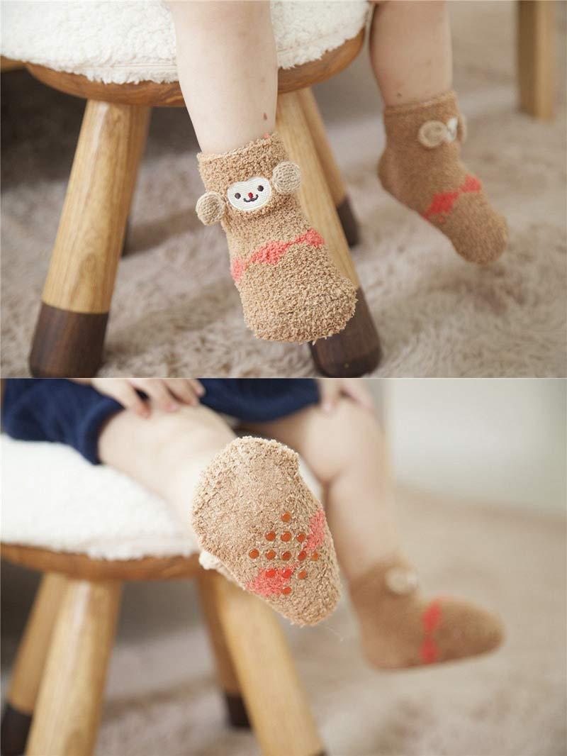 Z-Chen Pack de 6 Pares Calcetines Antideslizantes de Invierno para Bebé Niños Niñas Infantil, Set B, 1-3 Años 3