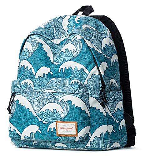 Keshi Cool Schulrucksäcke/Rucksack Damen/Mädchen Vintage Schule Rucksäcke mit Moderner Streifen für Teens Jungen Studenten Blau