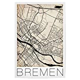 artboxONE Poster 60x40 cm Reise Bremen Vintage Map hochwertiger Design Kunstdruck - Bild Reise von David Springmeyer