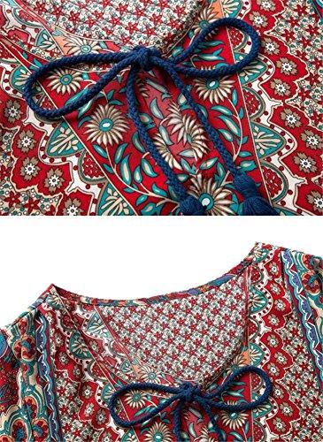 Damen Strandkleid Bluse Tunikakleid Minikleid Bohemien Langarm Rundhals - Très Chic Mailanda Weinrot