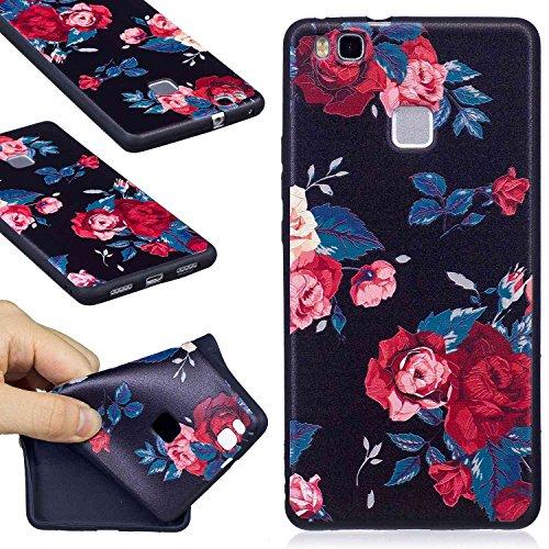 Guran® custodia in silicone per huawei p9 lite (5.2 pollici) smartphone morbida tpu gel gomma case protettiva cover - peonia