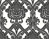 Livingwalls Vliestapete Flock Tapete neo barock 10,05 m x 0,53 m schwarz weiß Made in Germany 554949 5549-49