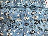 Javi Comic Rock blau Schrift Sweatshirtstoff Kinderstoff