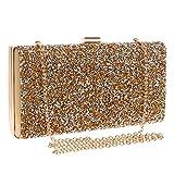YANLONG Mode Damen Glitter Clutch Bag Sparkly Silber Gold Schwarz Abend Braut Prom Party Handtasche (Farbe : Gold)