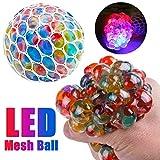 Sonnena Stress Glühende LED Mesh Ball Spielzeug Squeeze Licht Grape Spielzeug Angstlinderung Stress Matschig Ball Spielzeug (2.5 inch)