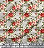 Soimoi 55 GSM Rose Blumenmuster 42 Zoll breit Viskose