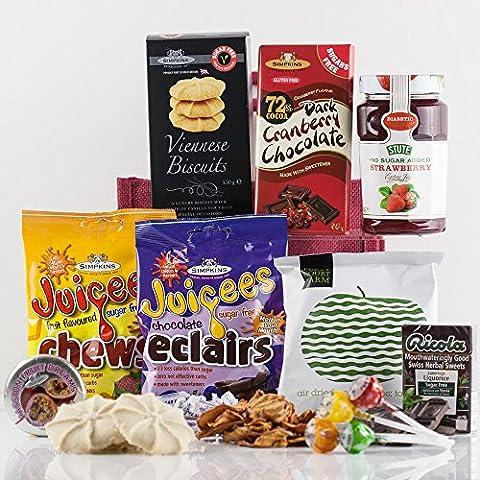 Natures Hampers Sac de Cadeau Délice Diabétique - diabétique & végétarien traite & collations ensemble-cadeau panier - anniversaire alimentaire diabétique - anniversaire pour lui - pour elle - cadeau de retraite