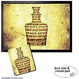Set: 1 Fußmatte Türmatte (70x50 cm) + 1 Mauspad (23x19 cm) - Whiskey, Whisky Sorten