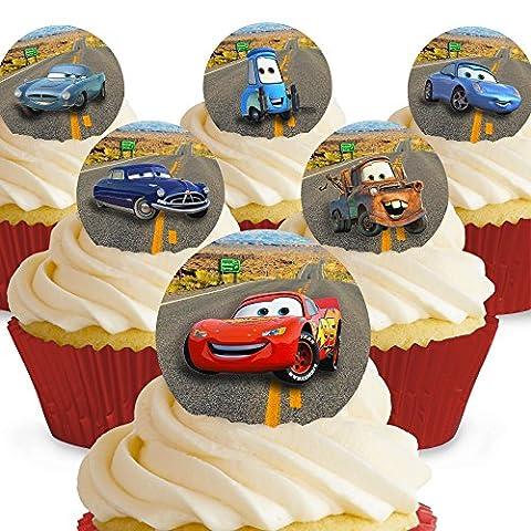 Cakeshop 12 x Vorgeschnittene und Essbare Disney Pixar Cars Kuchen Topper (Tortenaufleger, Bedruckte Oblaten,