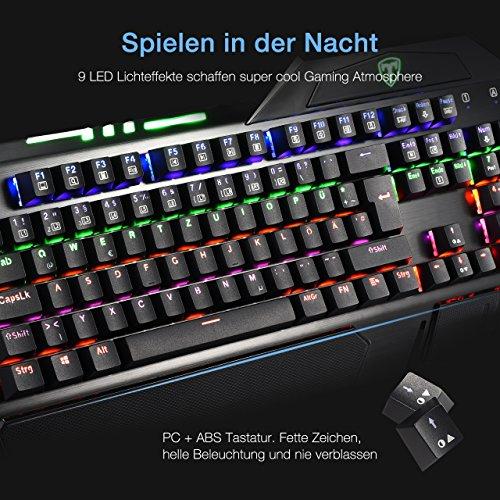Gaming Tastaturen, TopElek Mechanische Gaming Tastatur 105-Key Blue Switches Aluminium-Legierungspanel Gaming Keyboard, Keyclick mit Multi-Color-Beleuchtung und USB-Kabel Angeschlossen mit Key Cap Puller für Gamer, Schreibkräfte usw.-Deutsches layout QWERTZ - 4