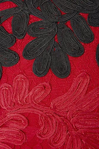 Roman Originals - Robe Femme Broderie Fleurie Contraste - Rouge Rouge