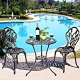 Costway Garden Bistro Sets Aluminium Patio 3 Piece Outdoor Balcony Rose Furniture Table & 2 Chairs
