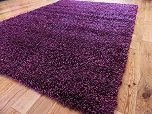 Extra Large Purple PLum Modern Thick Shaggy Rug, Non Shed 120 X 170 CM (4 FT X 5 FT 7)