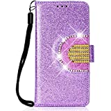 Lomogo Glitter Samsung Galaxy A6 2018 Case Leather Wallet Case with Kickstand Card Holder Shockproof Flip Case Cover for Galaxy A6 (2018) - LOHHA090058 Purple