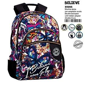 61uTnprhsRL. SS300  - Montichelvo Montichelvo Double Backpack A.O. CG Believe Bolsa Escolar, 43 cm, Multicolor (Multicolour)