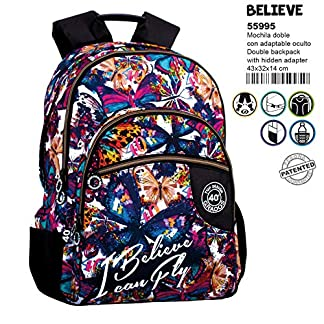 61uTnprhsRL. SS324  - Montichelvo Montichelvo Double Backpack A.O. CG Believe Bolsa Escolar, 43 cm, (Multicolour)
