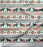 Soimoi Grun schwere Leinwand Stoff Streifen & Pferd