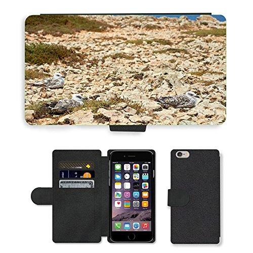 Just Mobile pour Hot Style Téléphone portable étui portefeuille en cuir PU avec fente pour carte//m00139345Coast Mouette mer nature eau/oiseaux/Apple iPhone 6Plus 14cm