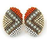 Boho-Stil, Orange/cremefarben/Weiß Perlen Oval Ohrringe Ohrstecker goldfarben, 25 mm, Größe L