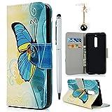 Hülle für Nokia 5 Case Cover YOKIRIN Lederhülle Handyhülle PU Leder Schutzhülle Flipcase Schale Handytasche Magnetverschluss Kunstleder Bookstyle Tasche mit Kartenfach und Ständer Farbe Schmetterling