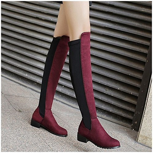 TAOFFEN Femmes Mode Automne Chaussures Flat Long Stretch Bottes Red Wine