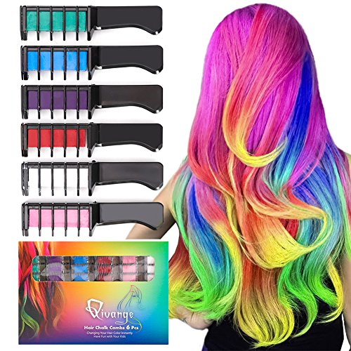 Qivange Hair Chalk Combs, 6 Pcs Non-Toxic Temporary Hair Colour Chalk for Kids & Adults, Fun Girl Toys, Great Birthday Gifts for Girls & Boys