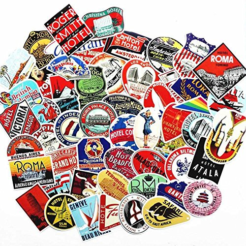 Blue Vessel 55pcs Retro Poster Koffer Gepäck Sticker Tasche Sticker Notebook Computer Skateboard Sticker Aufkleber (Koffer Skateboard)