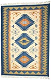 Exotic India Multicolor Handloom Dhurrie from Sitapur with Kilim Weave - Pure Wool