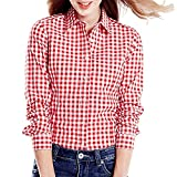 #5: Women's Red and White Casual Checkered Shirt by Adiba