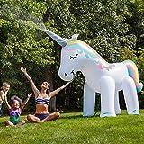 Big Mouth Riesiges aufblasbarer Einhorn Garten Sprinkler 2,5m Outdoor Wasser Spielzeug