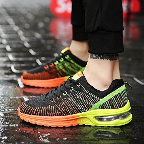 NEOKER Herren Damen Laufschuhe Sportschuhe Outdoor Running Freizeit Schuhe Turnschuhe Leicht Sneaker Schwarz Rot Grau 35-44 Schwarz+Orange