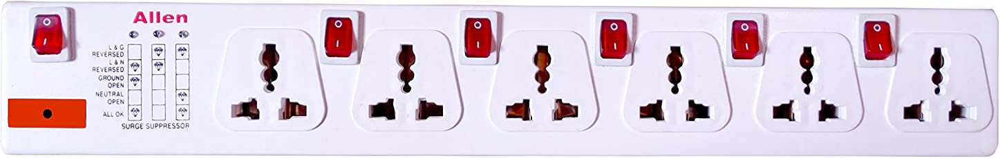 Allen 6+6 Spike Guard with Surge Protector and Illuminated Individual Switches with Each Sockets, International Sockets