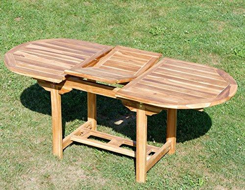 ASS Echt Teak Ausziehtisch 140-180 x 80 cm Holztisch Gartentisch Tisch Ausziehbar Holz Mod. Summer von