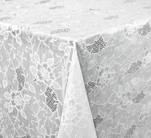 Vinyl TISCHDECKE Folie, Spitze Optik, Meterware, 140x136 cm, Weiß Halbdurchsichtig, Beautex