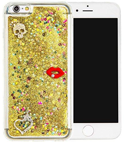 Nnopbeclik Silikon Hülle Transparent Für Apple Iphone 6 Plus / 6S Plus, Durchsichtig Ultra Slim TPU 3D Fließende Flüssigkeit Shiny Weich Schutzhülle Tasche Bunt Muster mit Diamant Applikationen [DIY M #15