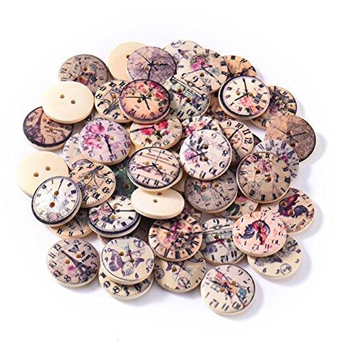Qingsb Holzknöpfe im Vintage-Stil, mit zwei Löchern, zum Nähen, Kleidungszubehör, zufällige Farbe und Muster, 50 Stück -