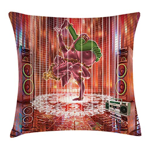 Pillow Cushion Cover, Ethnic Elephant Dancing Rocking The Dance Floor with Its Meditating Moves Print, Decorative Square Accent Pillow Case, 18 X 18 Inches, Multicolor ()