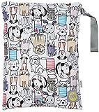 Itzy Ritzy Travel Happens-Bolsa con cremallera para pañales mojado bolsa con asa, tamaño mediano, de gatos y perros