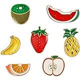 Lindo broche de fruta, serie de dibujos animados insignia de goteo de aleación varias frutas ropa mochila decoración 7 piezas