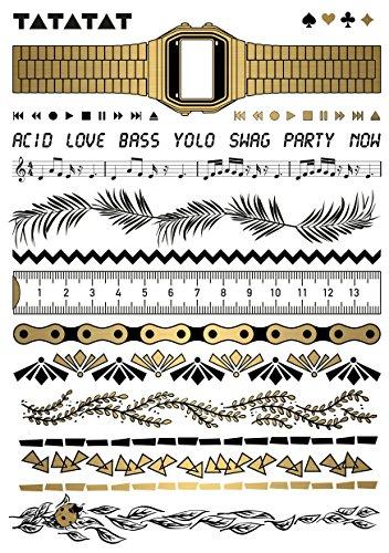 TATATAT das Streetart Label aus Berlin Temporäre Tattoos #009 bracelet festival set by mixed artists Tätowierungsaufkleber Tattoo Tat Damen Herren Kinder Körperkunst Aufkleber (Gold)