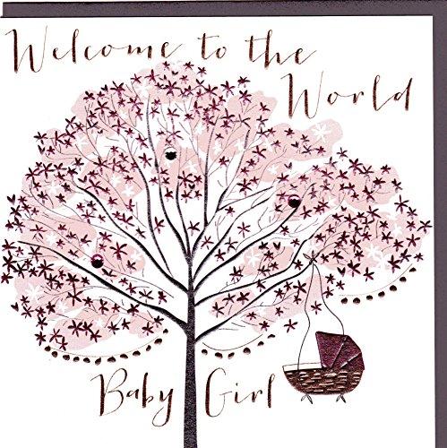 """Belly Button Designs Paloma Glückwunschkarte zur Geburt\""""Baby Girl\"""" mit Folienprägung und Kristallen. Eine hochwertige und originelle Karte zur Geburt BB303"""