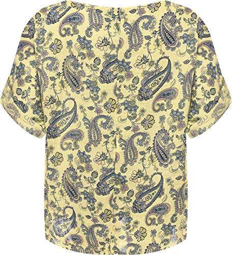 WEARALL Plus Damen Übergroß Leinen T-Shirt Top Damen Paisley Druck Kurz Hülle Ausgebeult - 44-54 Gelb