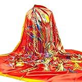 TUDUZ Damen Seide-Satin Square Schal Seide Kopftuecher Halstuecher Drucke Tücher Und Wraps 140 * 140CM (Orange)