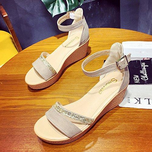 RUGAI-UE Donne sandali estivi piatto scarpe da donna Beige