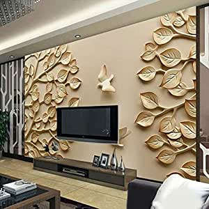 Kayra Décor Golden Leaf 3d Wallpaper For Living Room Bed Rooms Tv