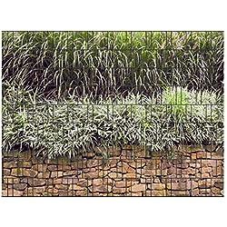 PerfectHD Zaunsichtschutz, Windschutz (30 versch. Motive) für Doppelstabmattenzaun *Steinmauer* einseitig, 19cm, 9 Streifen