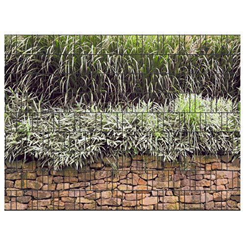 PerfectHD Zaunsichtschutz | 30 Motive | Sichtschutzstreifen für Doppelstabmattenzaun | Windschutz Sonnenschutz Blickdicht | 2,50m x 1,80m | 19cm | 9 Streifen | Steinmauer